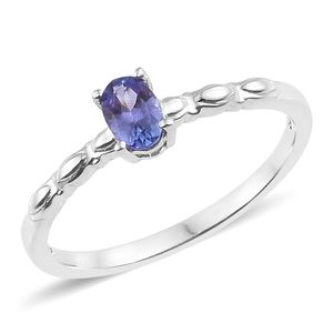 Premium AAA Tanzanite Platinum Over Sterling Silver Solitaire Ring (Size 5.0) TGW 0.45 cts.