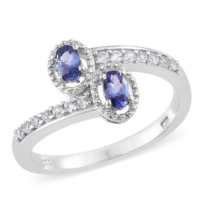 Premium AAA Tanzanite, Cambodian Zircon Platinum Over Sterling Silver Bypass Ring (Size 8.0) TGW 0.75 cts.