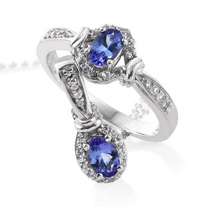 Premium AAA Tanzanite, Cambodian Zircon Platinum Over Sterling Silver Ring (Size 8) and Pendant With Chain (20 in) TGW 1.38 cts.