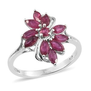 Niassa Ruby Platinum Over Sterling Silver Floral Ring (Size 5.0) TGW 2.15 cts.