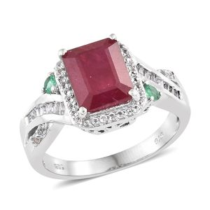 Niassa Ruby, Multi Gemstone Platinum Over Sterling Silver Ring (Size 9.0) TGW 6.22 cts.