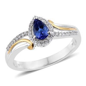 Premium AAA Tanzanite, Cambodian Zircon Vermeil YG and Platinum Over Sterling Silver Ring (Size 5.0) TGW 0.98 cts.