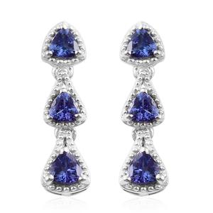 Premium AAA Tanzanite Platinum Over Sterling Silver Trilogy Drop Earrings TGW 1.66 cts.