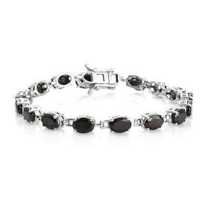 Shungite Platinum Over Sterling Silver Link Bracelet (7.25 In) TGW 8.20 cts.