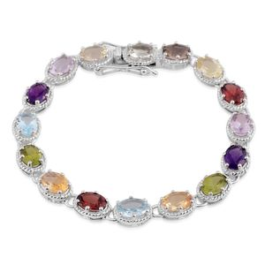 Multi Gemstone Sterling Silver Tennis Bracelet (6.50 In) TGW 9.60 cts.