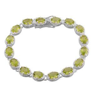 Hebei Peridot Sterling Silver Tennis Bracelet (7.50 In) TGW 9.60 cts.