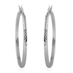 Sterling Silver Diamond Cut Hoop Earrings (4.2g)