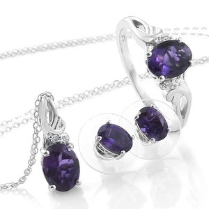 Customer Appreciation Day Lusaka Amethyst, Cambodian Zircon Platinum Over Sterling Silver Earrings, Ring (Size 11) and Pendant With Chain (20 in) TGW 4.67 cts.
