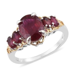 Niassa Ruby 14K YG and Platinum Over Sterling Silver Ring (Size 10.0) TGW 6.36 cts.