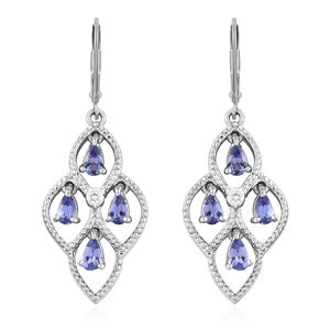 Premium AAA Tanzanite, Cambodian Zircon Platinum Over Sterling Silver Lever Back Dangle Earrings TGW 1.92 cts.