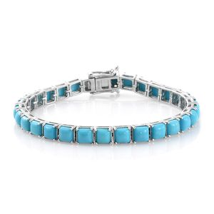 Arizona Sleeping Beauty Turquoise Platinum Over Sterling Silver Bracelet (7.25 In) TGW 13.64 cts.