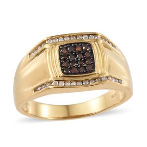 Red Diamond (IR), Diamond Vermeil YG Over Sterling Silver Men's Ring (Size 14.0) TDiaWt 0.50 cts, TGW 0.50 cts.