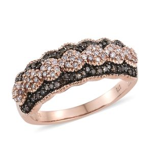 Natural Champagne and Pink Diamond Black Rhodium & Vermeil RG Over Sterling Silver Ring (Size 10.0) TDiaWt 0.50 cts, TGW 0.50 cts.
