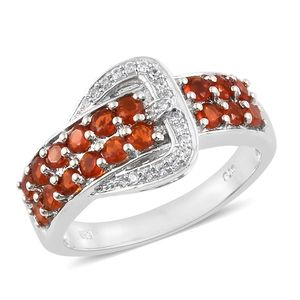 Jalisco Fire Opal, Cambodian Zircon Platinum Over Sterling Silver Buckle Ring (Size 7.0) TGW 1.00 cts.