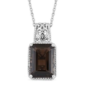 Doorbuster Brazilian Smoky Quartz Platinum Over Sterling Silver Pendant With Chain (20 in) TGW 6.70 cts.