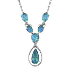 Peacock Quartz Platinum Over Sterling Silver Necklace (18 in) TGW 14.97 cts.