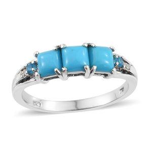 Arizona Sleeping Beauty Turquoise, Multi Gemstone Platinum Over Sterling Silver Ring (Size 8.0) TGW 1.55 cts.