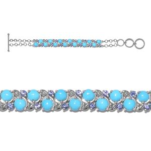 Arizona Sleeping Beauty Turquoise, Tanzanite Platinum Over Sterling Silver Bracelet (6.00- 7.25in) TGW 11.90 cts.