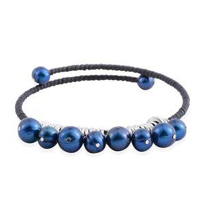 Freshwater Pearl - Blue Stainless Steel Bracelet (9.00 In)