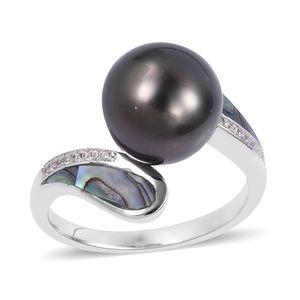 Tahitian Pearl (10-11 mm), Multi Gemstone Sterling Silver Ring (Size 7.0) TGW 0.20 cts.