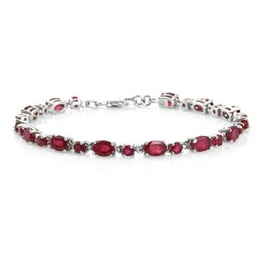 Niassa Ruby Platinum Over Sterling Silver Bracelet (7.25 In) TGW 11.82 cts.