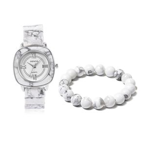 GENOA White Howlite Miyota Japanese Movement Water Resistant Watch in Stainless Steel with Matching Beaded Bracelet (Stretchable) TGW 352.10 cts.