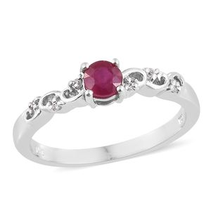 Niassa Ruby, Cambodian Zircon Platinum Over Sterling Silver Ring (Size 7.0) TGW 0.83 cts.
