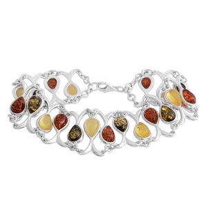 Multi Color Amber Sterling Silver Openwork Bracelet (8.00 In)