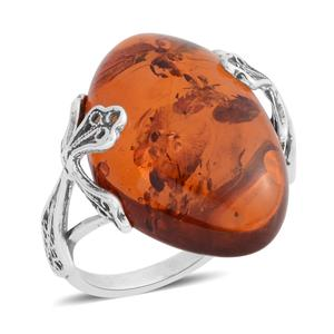 Baltic Amber Sterling Silver Ring (Size 9.0)