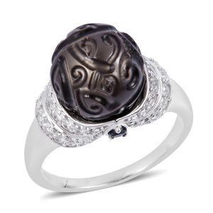 Tahitian Pearl Carved (12-12.5 mm), Multi Gemstone Sterling Silver Ring (Size 7.0) TGW 1.28 cts.
