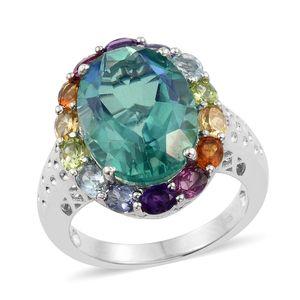 Peacock Quartz, Multi Gemstone Platinum Over Sterling Silver Statement Ring (Size 6.0) TGW 15.34 cts.