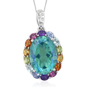 Peacock Quartz, Multi Gemstone Platinum Over Sterling Silver Pendant With Chain (20 in) TGW 15.51 cts.