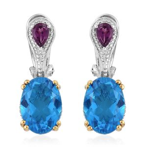 Caribbean Quartz, Purple Garnet Vermeil YG and Platinum Over Sterling Silver Omega Clip Earrings TGW 14.12 cts.