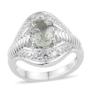 KARIS Collection - Green Amethyst, Simulated Diamond Platinum Bond Brass Ring (Size 7.0) TGW 3.32 cts.