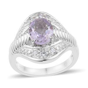 KARIS Collection - Rose De France Amethyst, Simulated Diamond Platinum Bond Brass Ring (Size 7.0) TGW 3.34 cts.