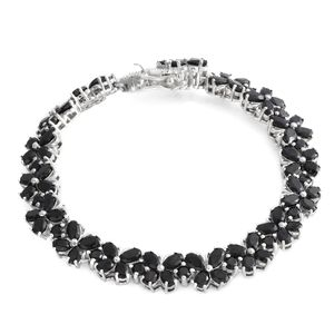 TLV Thai Black Spinel Platinum Over Sterling Silver Bracelet (7.25 In) TGW 22.25 cts.