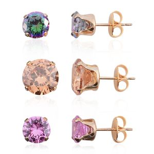Set of 3 Simulated Multi Gemstone 14K YG Over Sterling Silver Stud Earrings TGW 3.50 cts.