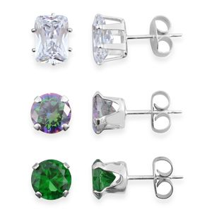 Simulated Multi Gemstone Sterling Silver Set of 3 Stud Earrings TGW 2.50 cts.