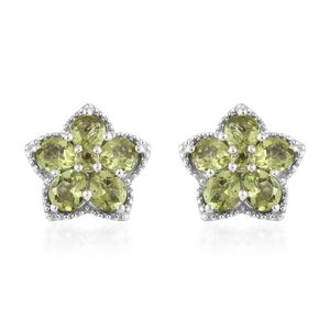 Hebei Peridot Platinum Over Sterling Silver Earrings TGW 3.56 cts.