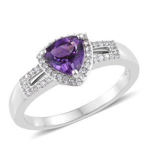 Moroccan Amethyst, Cambodian Zircon Platinum Over Sterling Silver Ring (Size 7.0) TGW 1.35 cts.