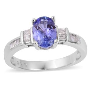 Premium AAA Tanzanite, Diamond Platinum Over Sterling Silver Ring (Size 8.0) TDiaWt 0.14 cts, TGW 1.14 cts.