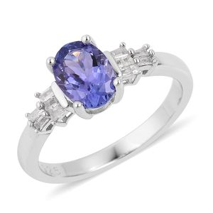 Premium AAA Tanzanite, Diamond Platinum Over Sterling Silver Ring (Size 8.0) TDiaWt 0.08 cts, TGW 1.08 cts.