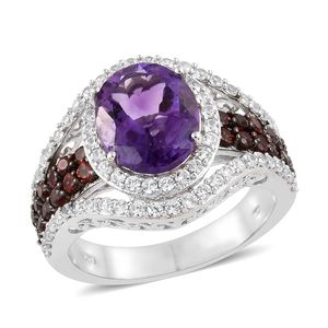 Moroccan Amethyst, Multi Gemstone Platinum Over Sterling Silver Ring (Size 9.0) TGW 7.63 cts.