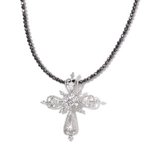 Simulated White Diamond Stainless Steel Cross Pendant With Hematite Beads Necklace (18 in) TGW 56.00 cts.