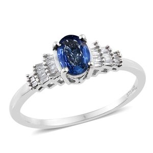 Luxury For Less Ceylon Blue Sapphire, Diamond Platinum Over Sterling Silver Ring (Size 5.0) TDiaWt 0.12 cts, TGW 1.02 cts.