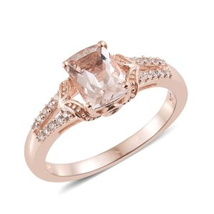 Marropino Morganite, Multi Gemstone Vermeil RG Over Sterling Silver Ring (Size 9.0) TGW 1.55 cts.