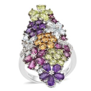 Multi Gemstone Platinum Over Sterling Silver Elongated Floral Ring (Size 6.0) TGW 8.72 cts.