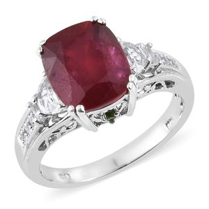 Niassa Ruby, Multi Gemstone Platinum Over Sterling Silver Ring (Size 8.0) TGW 9.34 cts.