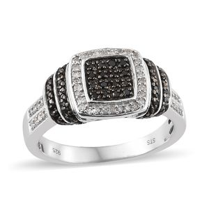 Black Diamond (IR), Diamond Black Rhodium & Platinum Over Sterling Silver Ring (Size 7.0) TDiaWt 0.50 cts, TGW 0.50 cts.
