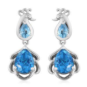 Caribbean Quartz, Electric Blue Topaz Platinum Over Sterling Silver Earrings TGW 6.68 cts.